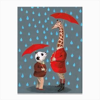 Panda With Giraffe Canvas Print