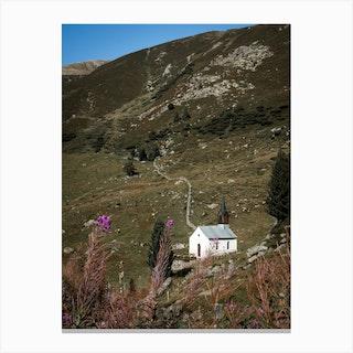 Chapel In De Mountains In Switzerland Canvas Print