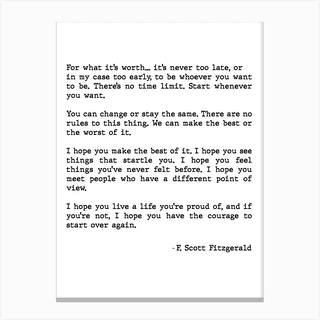 For What It's Worth Scott Fitzgerald Quote Canvas Print