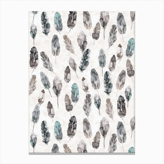 Watercolor Boho Feathers Teal And Grey Canvas Print