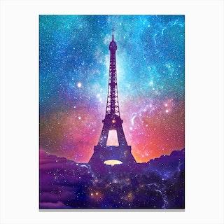 Eiffel Tower   Milky Way Collage Canvas Print