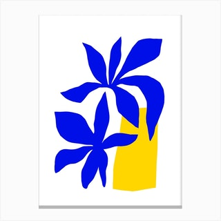Matisse Inspired 2 Blue And Yellow Canvas Print