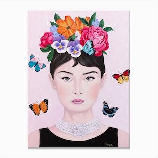 Audrey Hepburn With Butterflies Canvas Print