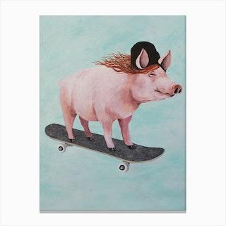 Pig Skateboarding Canvas Print