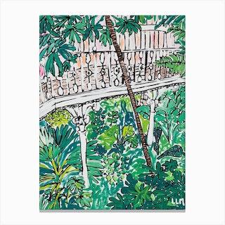 Kew Gardens Sunrise Jungle Painting Canvas Print