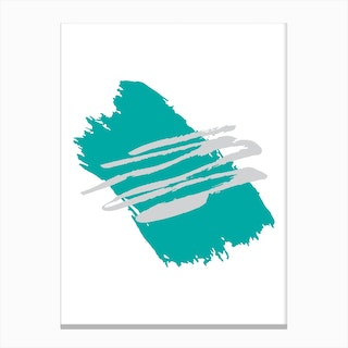 Abstract Teal Paint Stroke with grey Canvas Print