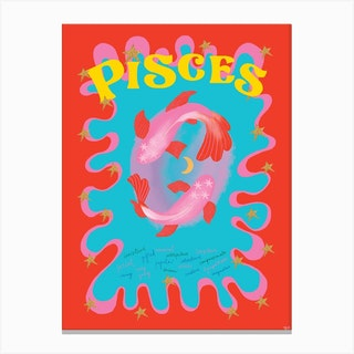Pisces Zodiac Starsign Canvas Print