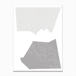 Grey Abstract Top and Bottom Shapes Canvas Print