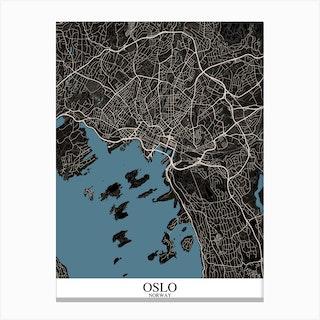 Oslo Black Blue Canvas Print