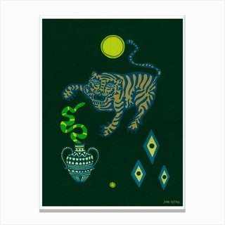 Dark Tiger And Snake Canvas Print