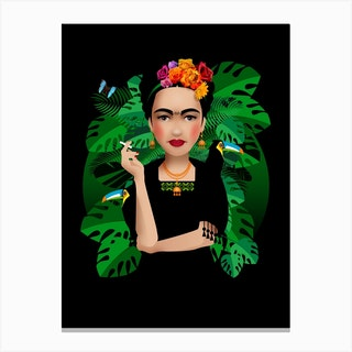 Frida Kahlo Black Canvas Print