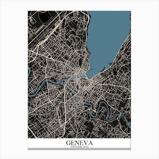 Geneva Black Blue Canvas Print