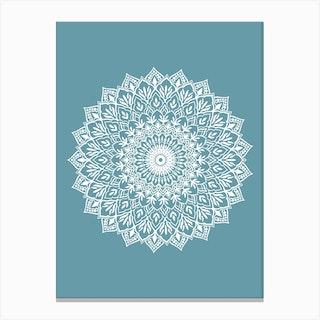 White Mandala Teal Canvas Print
