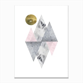 Pink and Grey Triangles Abstract Canvas Print