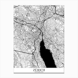 Zurich White Black Canvas Print