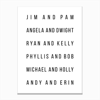 The Office Couples List Canvas Print