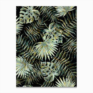 Jungle Dark Tropical Leaves Canvas Print
