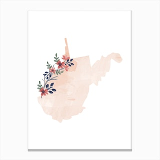 West Virginia Watercolor Floral State Canvas Print