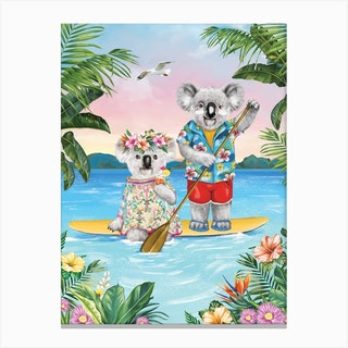 Sunshine Lovers Paddle Board Canvas Print
