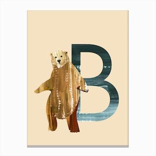 B Bear Canvas Print