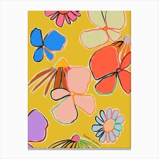 Vintage Garden Yellow Canvas Print