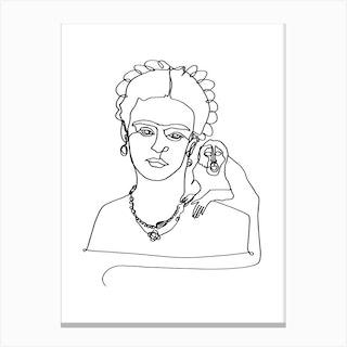 Frida And Monkey Canvas Print