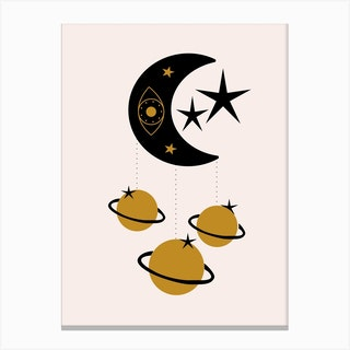 Moon Stars And Planets Canvas Print