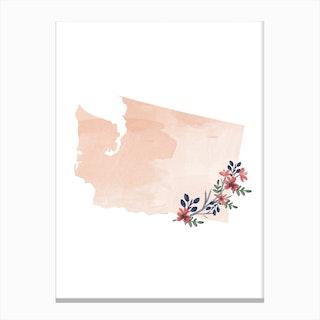 Washington Watercolor Floral State Canvas Print