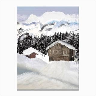Snowing Mountain Canvas Print