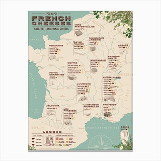 French Cheeses Map Canvas Print