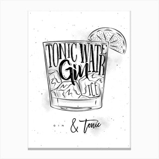 Gin And Tonic Cocktail White Canvas Print