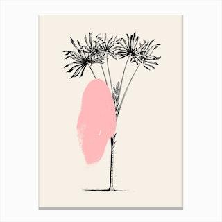 Tropical Tree Light Pink Canvas Print