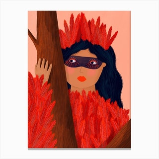 Red Bird Lady Canvas Print