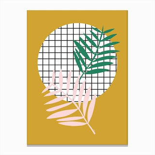Palm Leaves in Mustard Canvas Print