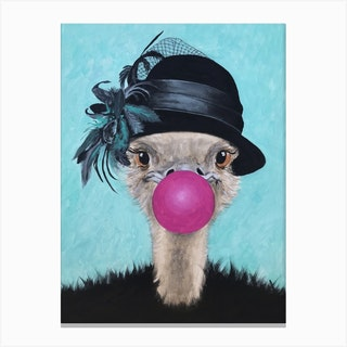 Ostrich With Bubblegum Canvas Print