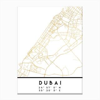 Dubai UAE City Street Map Canvas Print