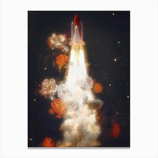 Space Shuttle & Flowers Canvas Print