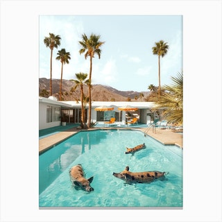 Pig Pool Party Canvas Print