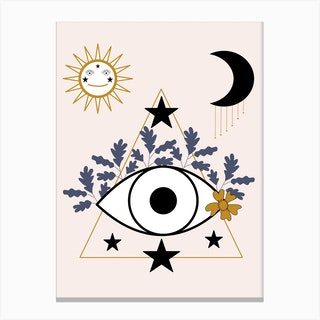 Eye Leaves And Celestial Elements Canvas Print