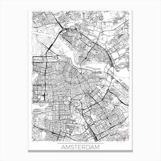 Amsterdam Map Minimal Canvas Print