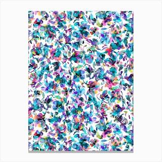 Aquatic Flowers Blue Canvas Print