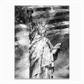 Monochrome Art Statue Of Liberty Canvas Print