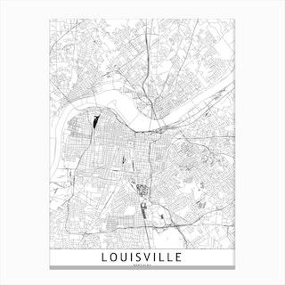 Louisville White Map Canvas Print