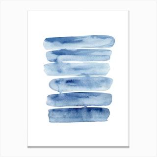 Watercolor Blue Lines Canvas Print