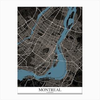 Montreal Black Blue Canvas Print