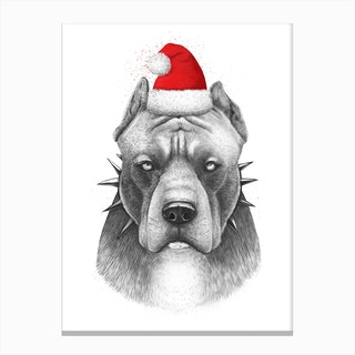 Christmas Pitbull Canvas Print
