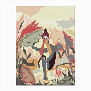 Namaste Abstract Tropical Yoga Print Canvas Print