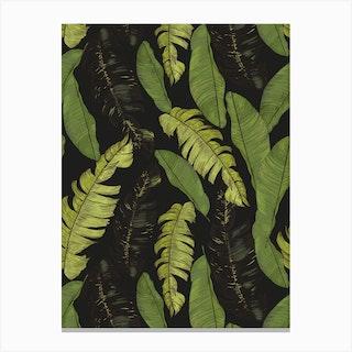 Tropical Leaves Black Canvas Print