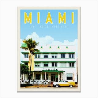 Miami Avalon Hotel Travel Poster Canvas Print