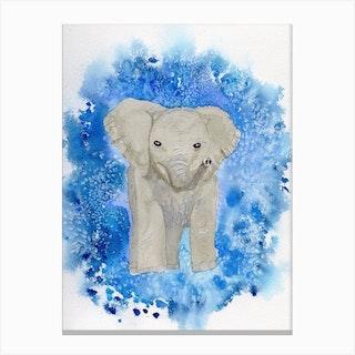Elephant Splash Canvas Print